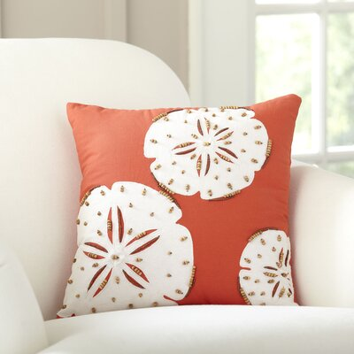 Sand Dollar Repeat Beaded Pillow Cover Color: Coral