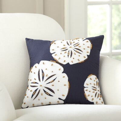 Sand Dollar Repeat Beaded Pillow Cover Color: Navy