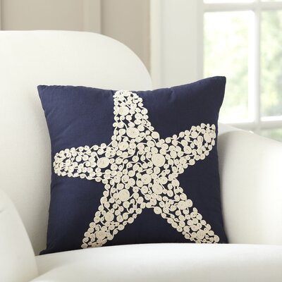 Sea Star Embellished Pillow Cover Color: Navy