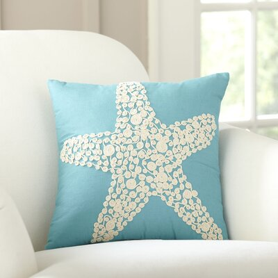 Sea Star Embellished Cotton Throw Pillow Cover Color: Turquoise