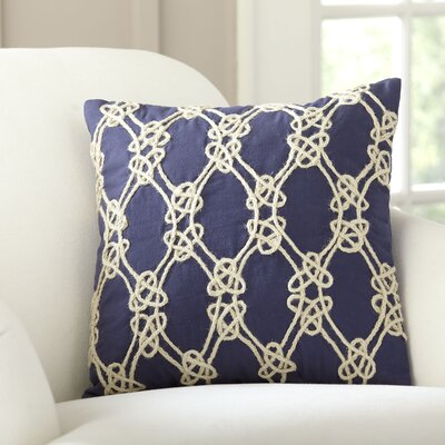 Sailor's Knot Embellished Pillow Cover Color: Navy