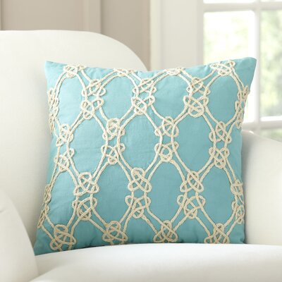 Sailor's Knot Embellished Pillow Cover Color: Turquoise