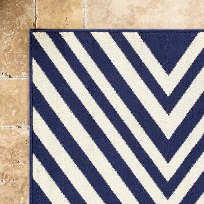 Solana Navy/Ivory Indoor/Outdoor Area Rug Rug Size: 23 x 46