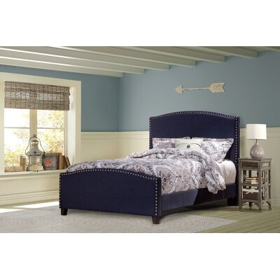 Upholstered Panel Bed Size: Queen, Color: Navy