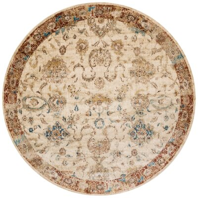 Jeffrey Beige/Rusty Brown Area Rug Rug Size: Round 53