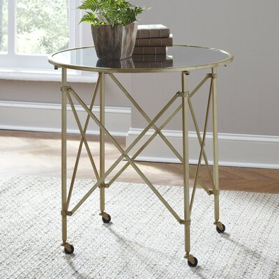 Minot End Table Color: Gold, Size: 30H x 29.5 W x 29.5D