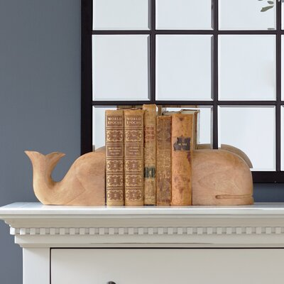 Carved Whale Bookends