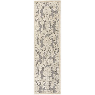 Lisa Ivory/Gray Area Rug Rug Size: Runner 23 x 8