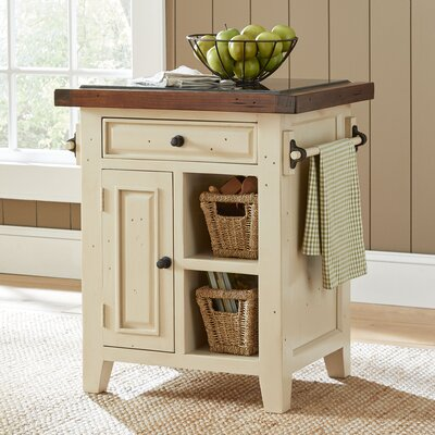 Harris Kitchen Cart Color: Country White w/Oxford