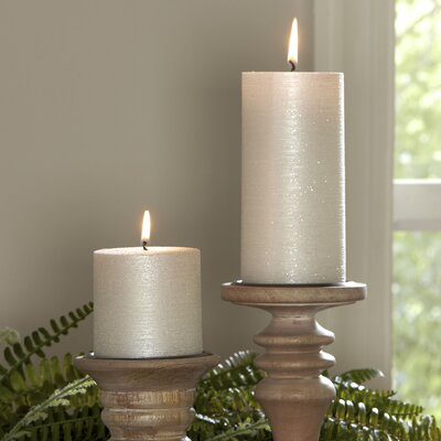 Shimmer Pillar Candle Size: 3 x 3