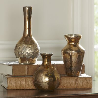 Golden Mercury Glass Vases (Set of 3)