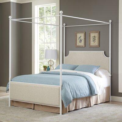 Williston Upholstered Canopy Bed Size: Queen, Color: Off White/Beige Fabric