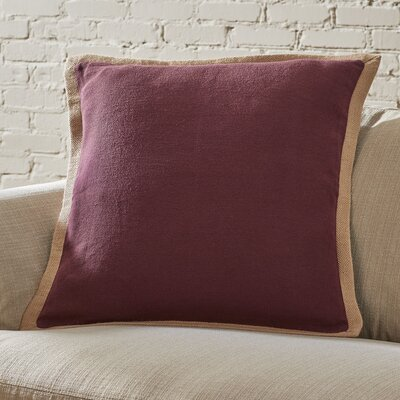 Shayna Jute Trim Pillow Cover Color: Burgundy