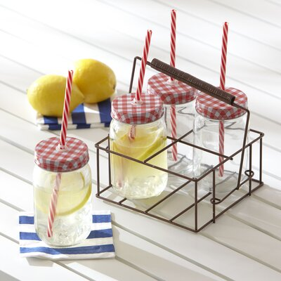 Gingham Drinking Jar Set