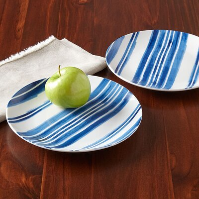 Indigo Striped Bread & Butter Plates