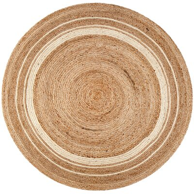Cordell Ivory-Striped Jute Rug Rug Size: Round 4