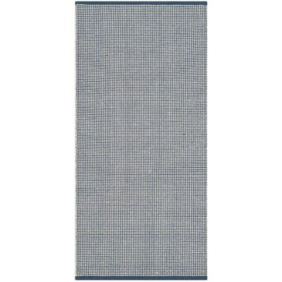 Ollie Hand-Woven Cotton Navy Area Rug Rug Size: Runner 23 x 12