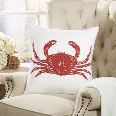 Crab Ocean Life Beaded Pillow Cover