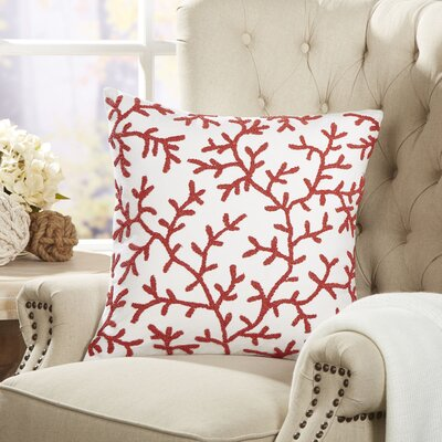 Coral Ocean Life Beaded Pillow Cover