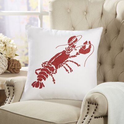 Lobster Ocean Life Beaded Throw Pillow
