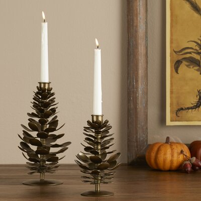 Cast Pinecone Candleholders