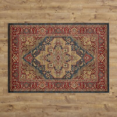 Othello Red/Navy Area Rug Rug Size: 53 x 76