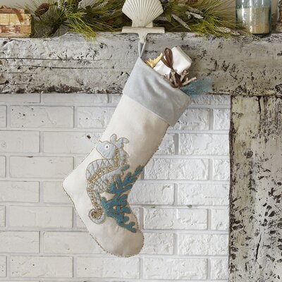 Seahorse Beaded Ocean Stocking