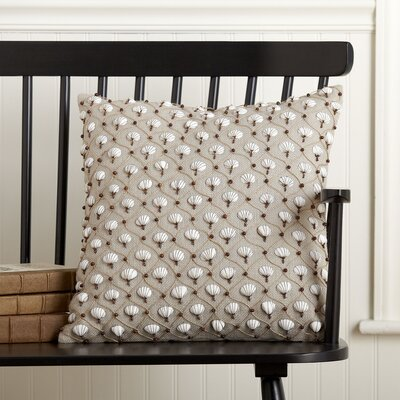 Embellished Cockle Shell Pillow Cover Color: Gray Morn