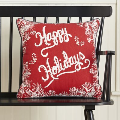 Happy Holidays Greetings Pillow Cover