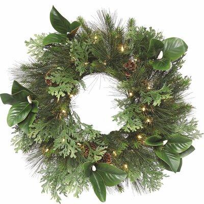 Magnolia & Pine Faux Lighted Wreath