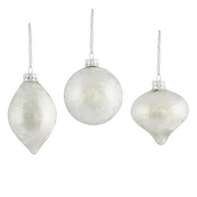 Frosted Glass Pendant 3-Piece Ornament Set (Set of 2)