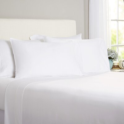 Celina Bedding 2 Piece 300 Thread Count Egyptian Quality Cotton Sheet Set Size: Queen, Color: White / White