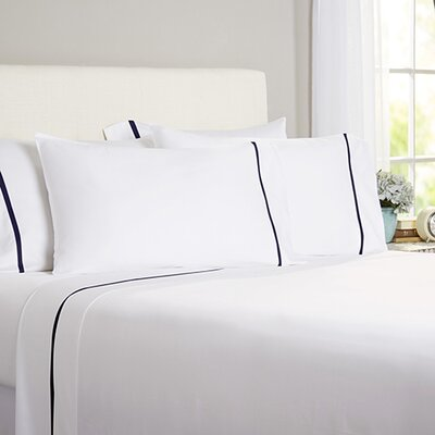 Celina Bedding 2 Piece 300 Thread Count Egyptian Quality Cotton Sheet Set Size: Queen, Color: White / Navy