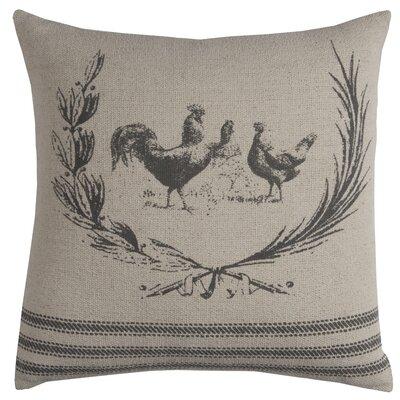 Hen Lithograph Pillow Color: Natural Gray