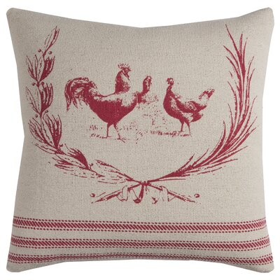 Hen Lithograph Cotton Pillow Cover Color: Red