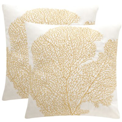 Coral Escape Throw Pillow Color: Gold / Cr�me