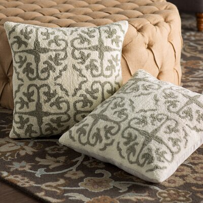 Portia Hooked Pillow Color: White / Tropical Light Grey
