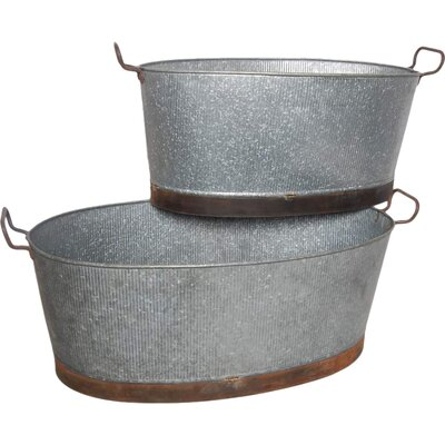 Barnyard 2-Piece Metal Pot Planter Set