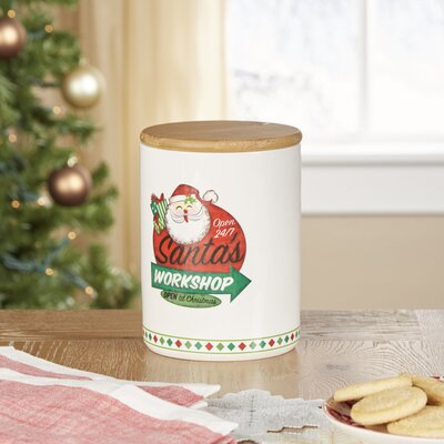 Retro Santa's Workshop Cookie Jar