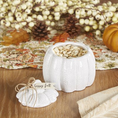 White Pumpkin Lidded Bowl