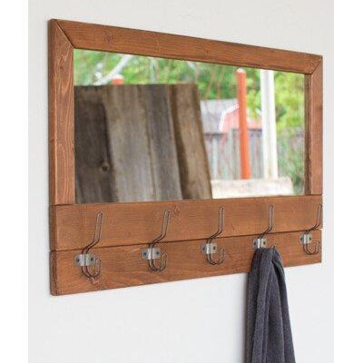 Recycled Honey Wood Mirror with Five Coat Rack