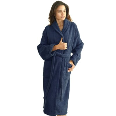 Winchester Monogrammed Bathrobe Size: Robe, Color: Navy