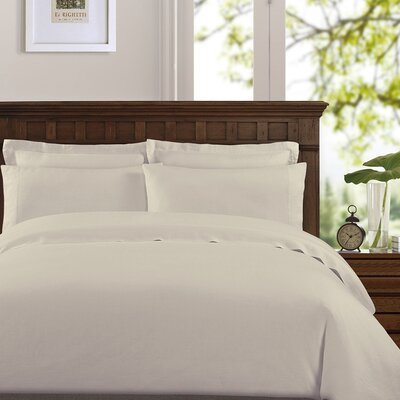 Bernadette Washed Belgian Linen Sheet Set Color: Stone, Size: Full