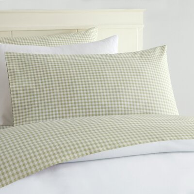Alberta Gingham 250 Thread Count Sheet Set Size: King, Color: Green
