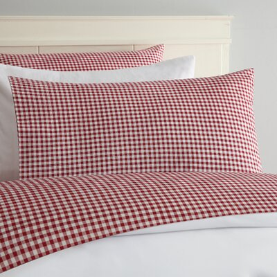 Alberta Gingham 250 Thread Count Sheet Set Size: Full, Color: Red