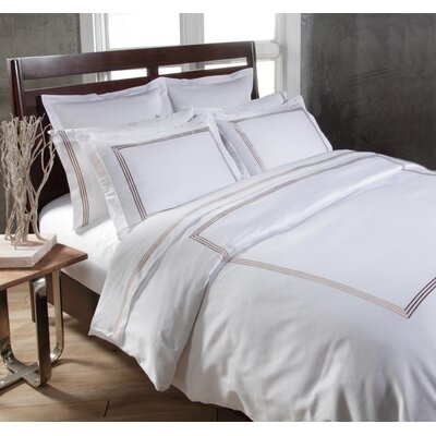 Tappen Duvet Set Color: White / Taupe, Size: Full / Queen