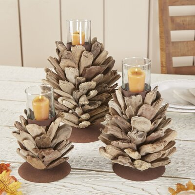Driftwood Pinecone Votive Holder