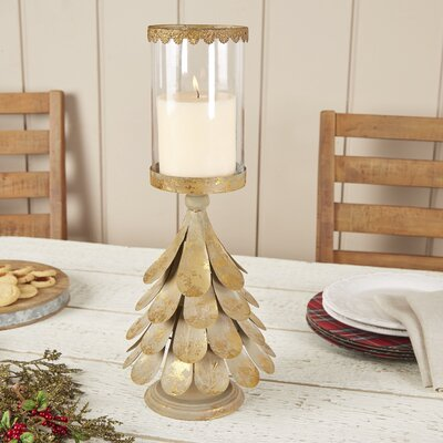 Burnished Evergreen Votive Holder