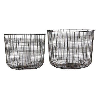 Palm and Fauna 2 Piece Metal Open Weave Basket Set