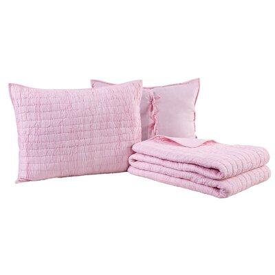 Rochelle Quilt Set Color: Light Pink, Size: King